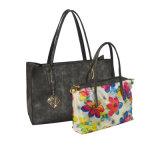 Les sacs à main de l'unité centrale des dames avec Flora impriment la poche intérieure, sac d'emballage avec la banque de puissance (ZXL1610-3)
