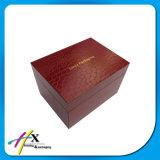 ワニの革上塗を施してある贅沢単一の腕時計の包装のための2つの層の木箱