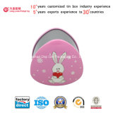 Sale caldo Rabbit Hearts Tin Box per Cookies/Biscuit/Candy/Chocolate/Gift