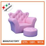 Mobília das crianças do sofá da cadeira do otomano do couro de cabritos da curvatura da coroa (SXBB-17-02)