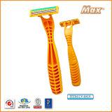 プラスチック使い捨て可能な剃るかみそり(LA-8415)を剃るステンレス鋼の三倍の刃