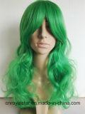 Form-lange lockiges Haar-Grün Cosplay Perücke