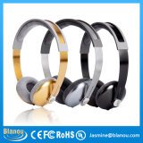 High Quality Wired Metal Mobile Phone Bass MP3 Wholesale Gold Handsfree Headset (BH668)
