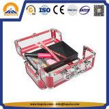 Transparente Acrylschönheits-kosmetischer Kasten mit Aluminiumrahmen (HB-2016)