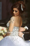 Luvas longas nupciais de cristal dos vestidos de esfera que perlam o vestido de casamento novo Z2016