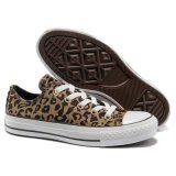Baixo Cut Comfortable Brown Leopard Canvas Shoes com Cheap Prices