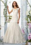 Tulle Dentelle Satin manches Cap Mori Lee A-ligne de robe de mariage (Dream-100064)