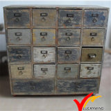 Antique France Farmhouse 12 Drawers Reculimed Wood Cabinet