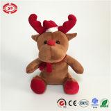 La peluche type de Noël de beau de Brown nez rouge d'orignaux badine le jouet
