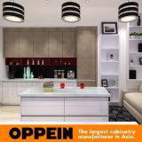 Gabinetes de cozinha de madeira da laca elevada moderna do lustro com console (OP15-L34)