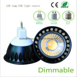 Dimmable 5W MR16 LED COB Negro Luz