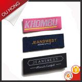 Etiquetas principais tecidas projeto da marca do cuidado da tela da etiqueta dos desenhos animados