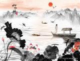 Los ciruelos florecientes por la pintura tradicional del paisaje del río y de la torre para el modelo No. del sitio de estudio: Wl-017