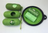 Sacs de rebut de crabot de déplacement de rebut de crabot de sacs verts de dunette avec le distributeur