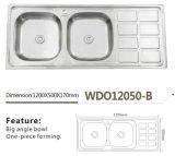 De Dubbele Kom van de Waren van de keuken met de Gootsteen wdo12050-B van het Roestvrij staal van de Raad van het Afvoerkanaal