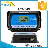 태양계 Rtd 20A를 위한 20A 12V/24V LCD USB-5V/3A 태양 관제사