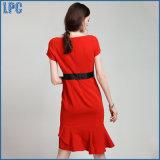 Красный нейлон с платьем втулок краткости способа для повелительниц офиса