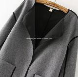 Casaco de pó de algodão feminino de duas cores