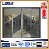 Doubles portes coulissantes en bois en aluminium en verre avec construit dans des lames