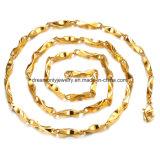 Corrente do Weave do Ouro Amarelo da Jóia da Forma, Colar do Material da Liga de Cobre