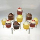 Étagères de gâteau de demi de lune de rangée de l'acrylique 3/crémaillère claires d'étagère de choc de canalisation verticale/épice d'étalage de détail dessus de Tableau