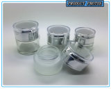 De transparante Duidelijke Kosmetische Fles van het Glas en de Kosmetische Kruik van het Glas
