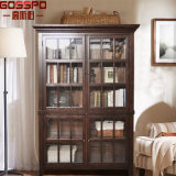 Bookcase Guangdong высеканный древесиной с стеклянной дверью (GSP18-019)