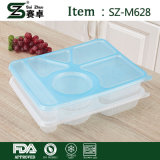 Прямоугольный контейнер еды 6 отсеков устранимый пластичный с крышкой (1000ml)