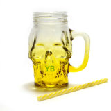 Tasse en verre Shaped de crâne de qualité avec la paille, choc de maçon potable
