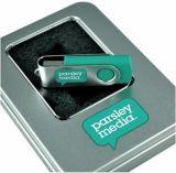 Mecanismo impulsor del flash del USB del eslabón giratorio de Hotsales con su insignia para libre