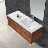 Dissipador moderno de superfície contínuo do banheiro do gabinete