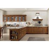 ブラウンの木製の穀物の壁ベースキャビネットが付いている固体台所家具
