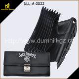 Горячее портмоне кельнера черноты деталя с подгонянным логосом вышивки