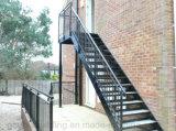 Escaleras rectas exteriores antideslizantes del acero de carbón de la escalera
