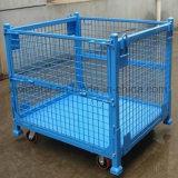 Memoria del magazzino che piega il contenitore accatastabile della maglia del filo di acciaio con le rotelle