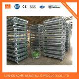 Supermercado que empilha a gaiola segura Foldable do metal do armazenamento com rodas