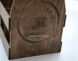 Tote de madeira da cerveja da antiguidade feita sob encomenda do logotipo para 4 frascos