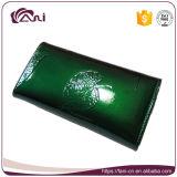 Raccoglitori di cuoio di lusso di nuovo disegno per le donne, signora impressa foglio verde Leather Purse