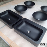Lavabo de colada redondo de la mano de la piedra negra de la resina pequeño