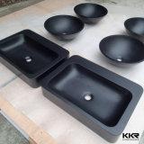 Cuenca del negro de la resina de piedra redonda Pequeño lavado de manos