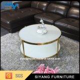 旧式な様式のフランスの家具ガラス表の白いコーヒーテーブル