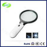 Magnifier tenuto in mano 15X con l'indicatore luminoso del LED per valuta che rileva funzione