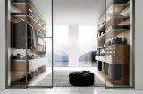 Wardrobe de madeira do quarto da melamina com porta de vidro