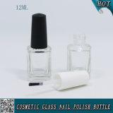 12ml leeren Nagel-Lack-Glasflasche mit schwarzer u. weißer Plastikschutzkappe und Pinsel