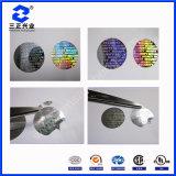 Impression faite sur commande de collants d'étiquette adhésive de l'hologramme USB avec du matériau d'animal familier (SZXY017)