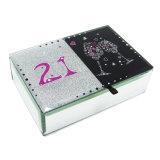 De klassieke Doos van de Gift van de Doos van de Juwelen van het Glas van de Luxe met Buttrefly Patroon hx-6700