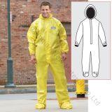 Grey&Yellow 100% 방수 방어적인 전반적인 물자 PE 박판 부직포 직물
