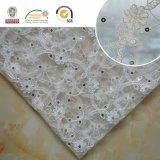 Tessuto floreale bianco del merletto di cerimonia nuziale 3D per la cerimonia nuziale Party2017 C10012