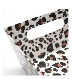 Rectángulo de almacenaje del papel de la impresión del leopardo con la maneta cortada con tintas
