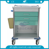 AG-Mt034 4 Tábuas Powder Coated Steel Medical Trolley Cart